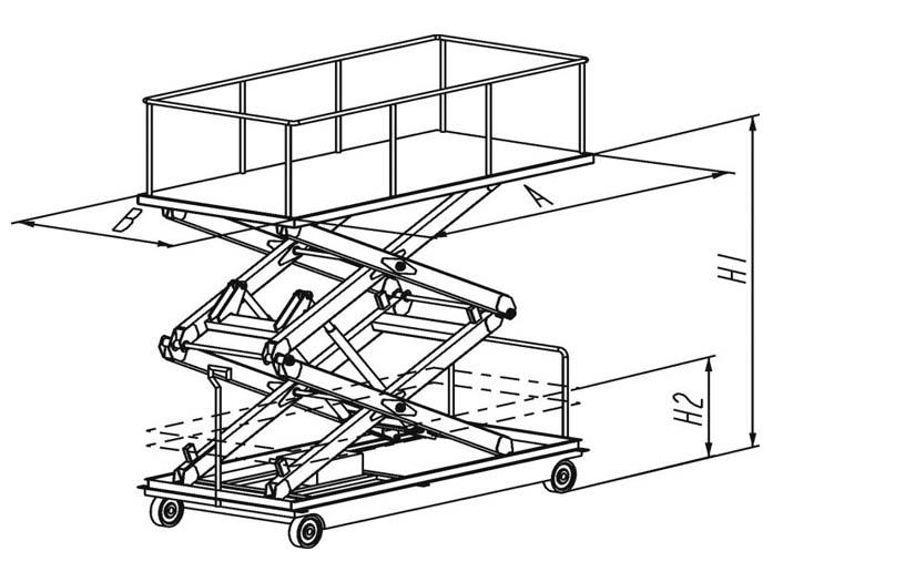 подъемный стол ножничного типа, подъемник ножничный